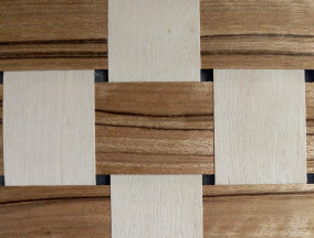 woven birch and walnut veneer
